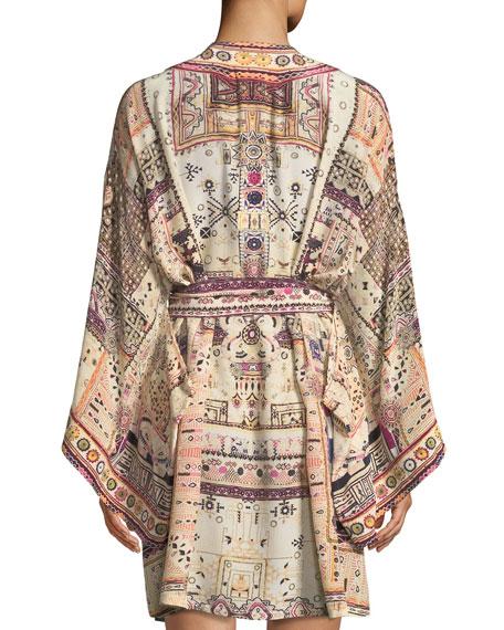 Embellished Silk Kimono Coverup w/ Belt