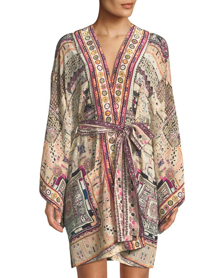 Camilla Embellished Silk Kimono Coverup w/ Belt