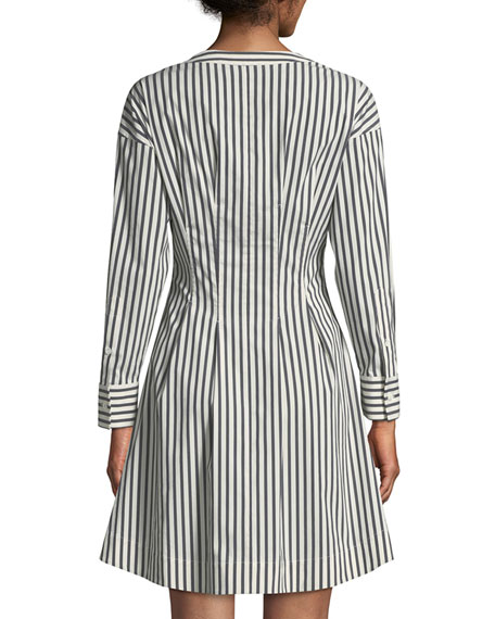 Bryson Stripe Darted Button-Down Dress