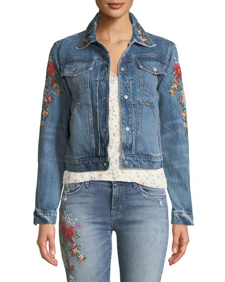 Hudson The Ren Floral-Embroidered Crop Trucker Jacket