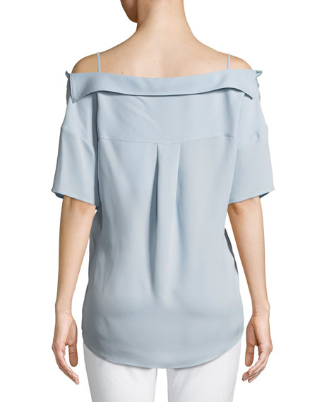 Tamalee Off-the-Shoulder Button-Down Top