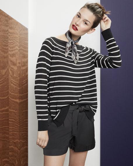 Fine-Spun Lightweight Striped Raglan Sweater
