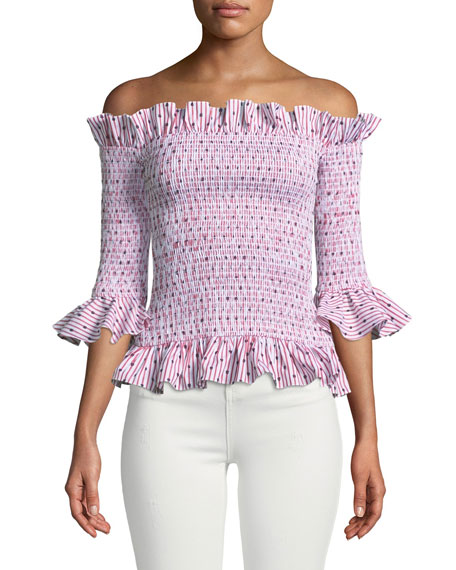 Caroline Constas Calida Smocked 3/4-Sleeve Ruffle Top