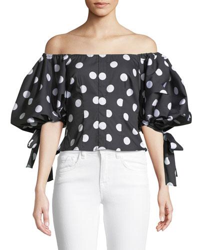 Nella Off-the-Shoulder Polka-Dot Print Top