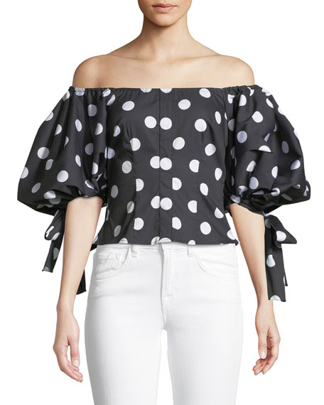 Caroline Constas Nella Off-the-Shoulder Polka-Dot Print Top