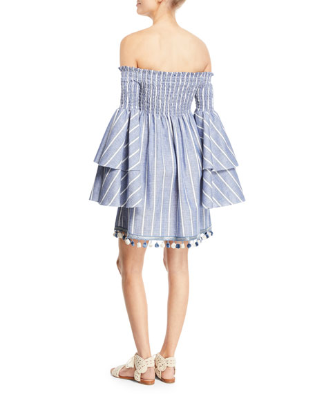 42d670f60920a3 Caroline Constas Appolonia Off-the-Shoulder Striped Bell-Sleeve Mini Dress  | Neiman Marcus