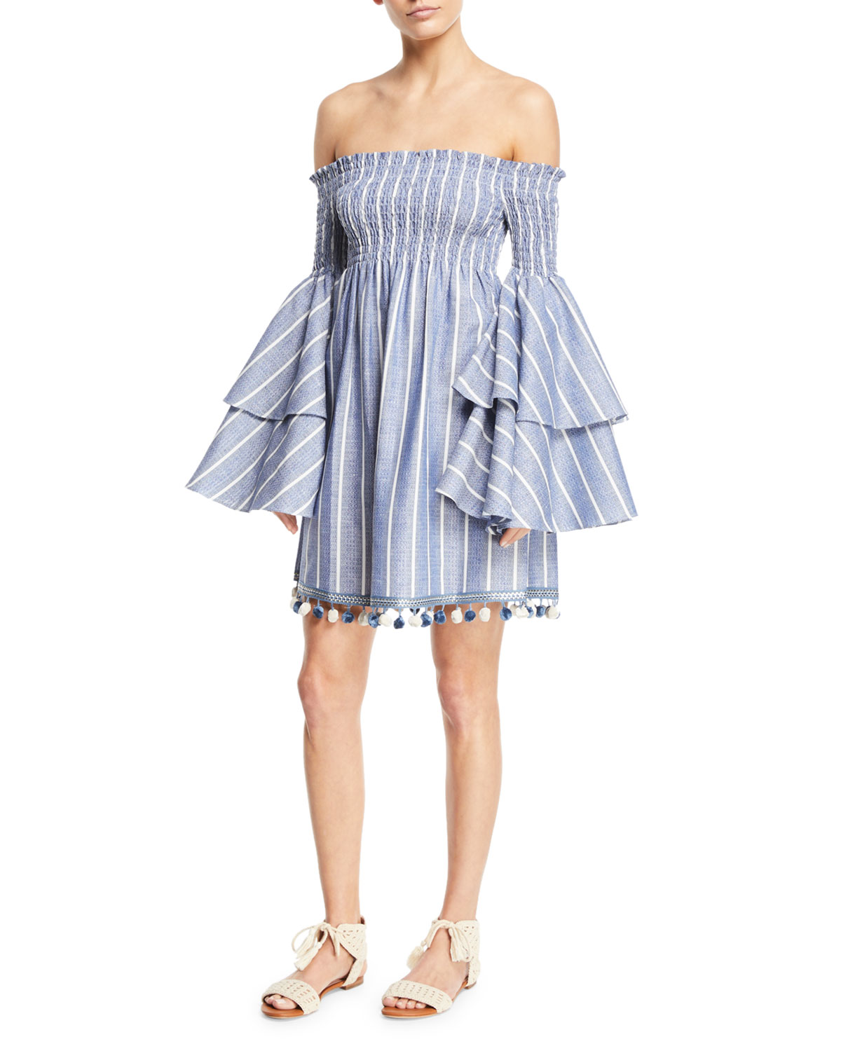 cf0fbc110d91c6 Caroline Constas Appolonia Off-the-Shoulder Striped Bell-Sleeve Mini Dress