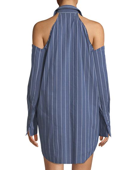Striped Cold Shoulder Tunic Mini Dress