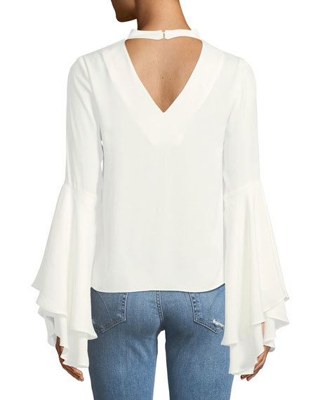 Mock-Neck Bell-Sleeve Blouse