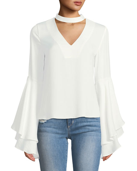 Kendall + Kylie Mock-Neck Bell-Sleeve Blouse