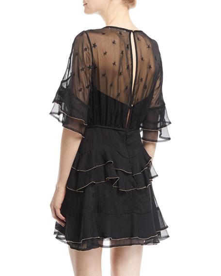 Eloise Embroidered Frill Mini Dress