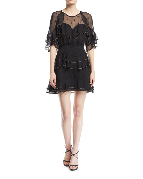 La Maison Talulah Eloise Embroidered Frill Mini Dress