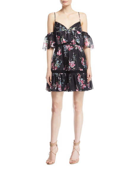 La Maison Talulah Belonging Floral-Print Georgette Mini Dress
