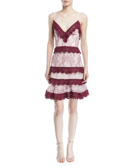 Sensibility Floral Lace Trim Mini Dress