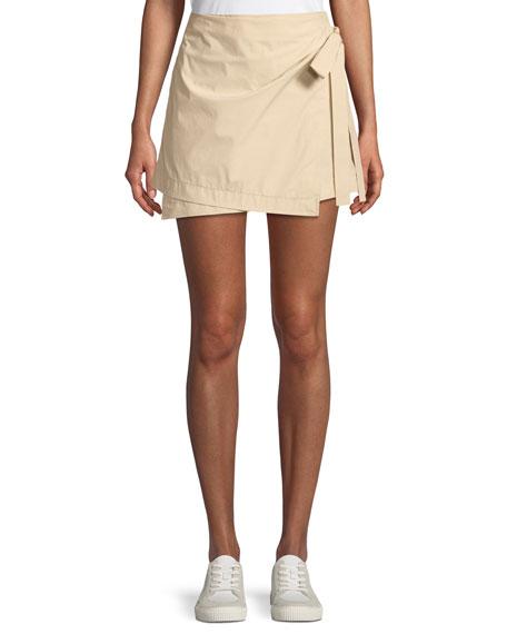 Wrap-Tie Mini Skirt in Stretch Cotton