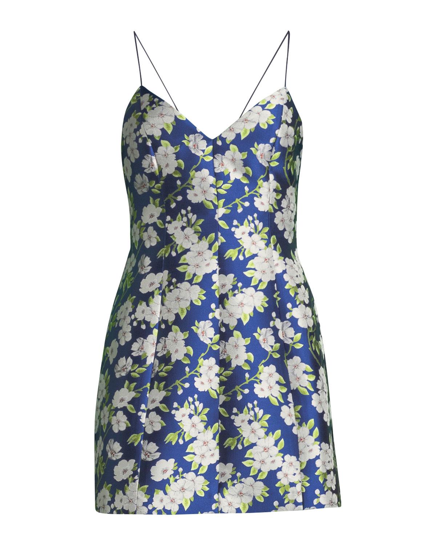 c3f9c45eeb07 Alice + Olivia Tayla Floral-Print Lantern Mini Dress | Neiman Marcus