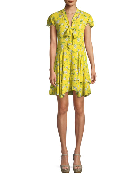 Alice + Olivia Moore Flutter-Sleeve Tiered Knee-Length Dress