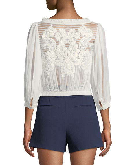 Lavone Embroidered Button-Down Top