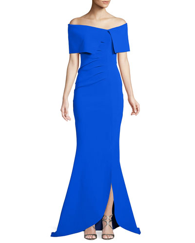 Egida Asymmetric Off-the-Shoulder Mermaid Gown