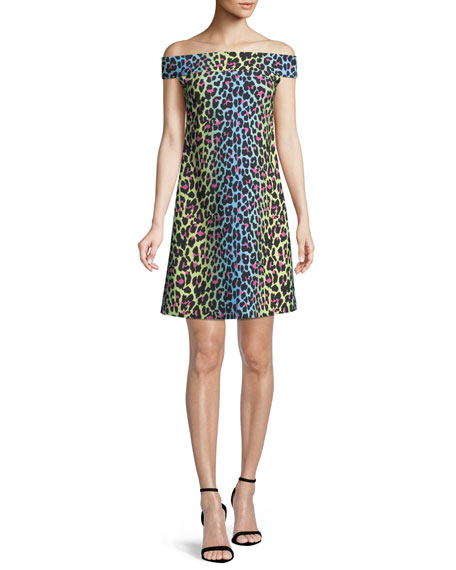 Chiara Boni La Petite Robe Anoush Off-the-Shoulder Animal-Print