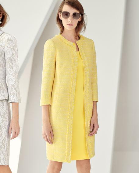 Two-Piece Tweed Coat & Crepe Dress Set