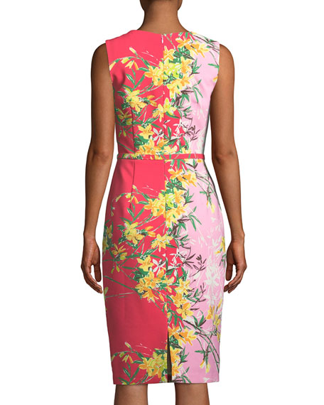 David Meister Two-Tone V-Neck Sleeveless Dress