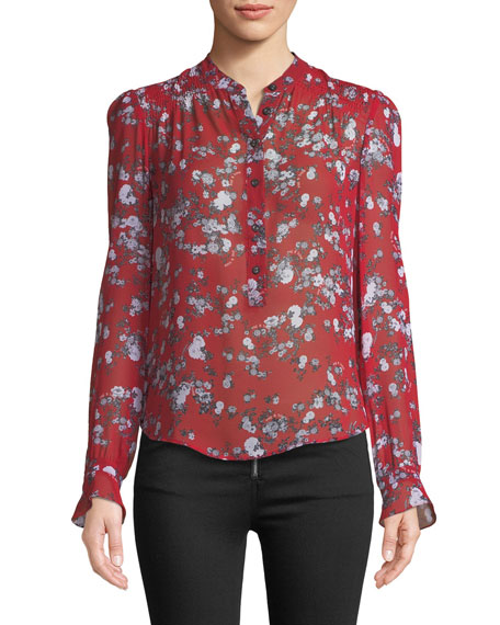 Susan Button-Down Floral-Print Silk Blouse