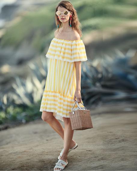 Striped Flounce Ruffle Off-the-Shoulder Dress