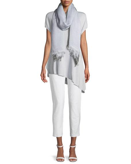 Sky Shimmer Silk Cap-Sleeve Asymmetric Tunic