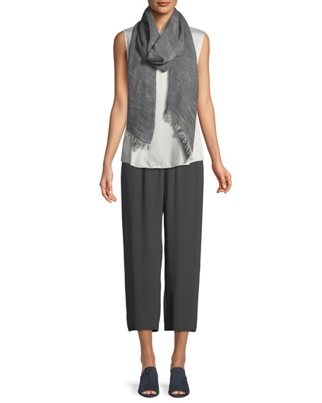 Straight-Leg Silk Crepe Pants w/ Side Piping