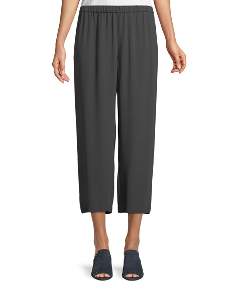 Eileen Fisher Straight-Leg Silk Crepe Pants w/ Side