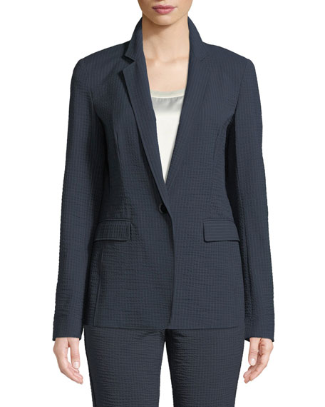 Lyndon Rendezvous Seersucker Stripe Zip-Pocket Blazer