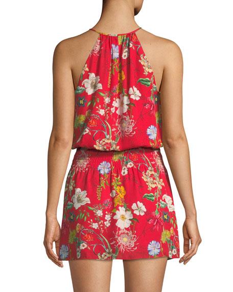 Larissa Sleeveless Floral-Print Silk Dress