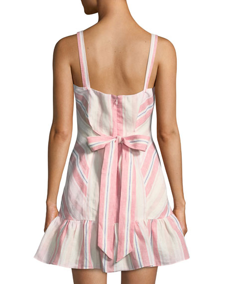 Image 2 of 2: Parker Yuna Sweetheart Striped Linen Mini Dress