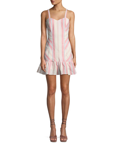 Image 1 of 2: Parker Yuna Sweetheart Striped Linen Mini Dress