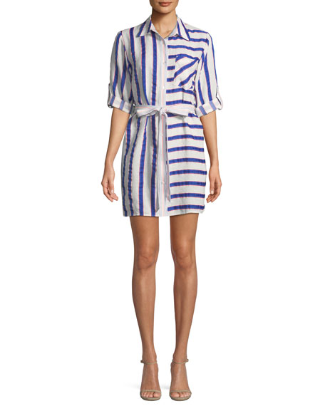 Milly Split-Striped Tie-Waist Linen-Stretch Shirt Dress