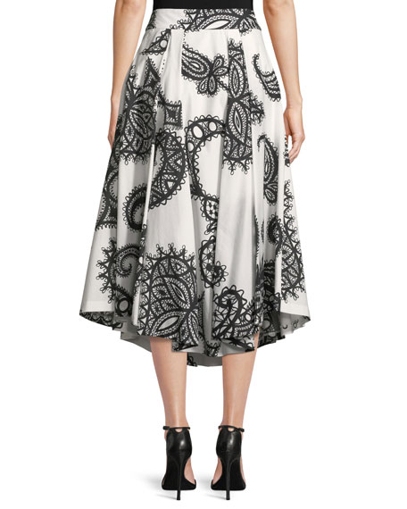 Fiona Lace-Print Cotton A-Line Skirt