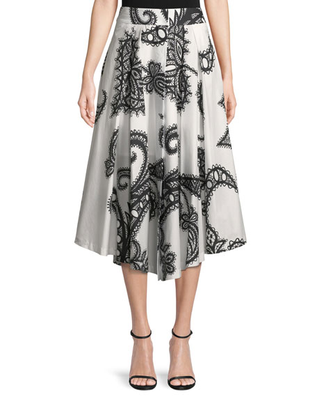 Fiona Lace-Print Cotton A-Line Skirt in Black