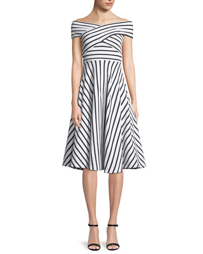 Jill Striped Off-the-Shoulder Dress