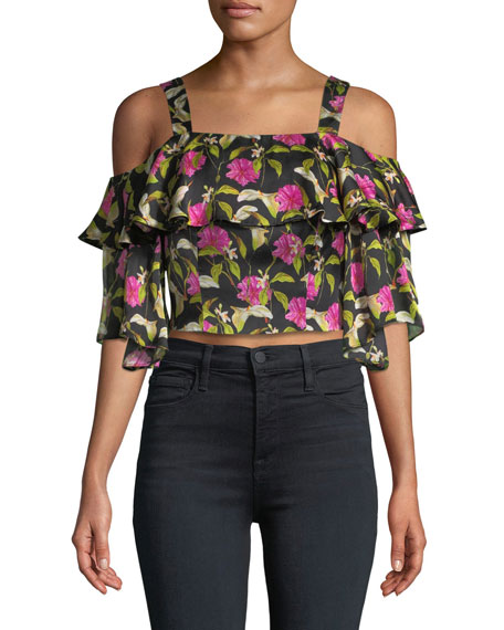 Milly Audrey Floral-Print Ruffled Top and Matching Items