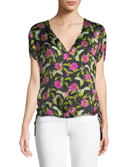 Milly Floral-Print Silk Dolman Top