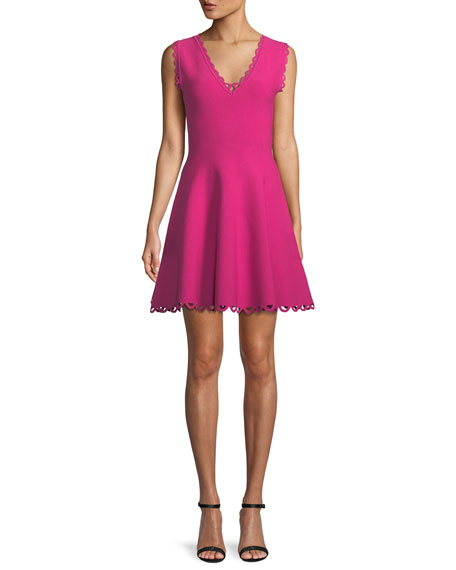 Scalloped-Trim Fit-and-Flare Dress