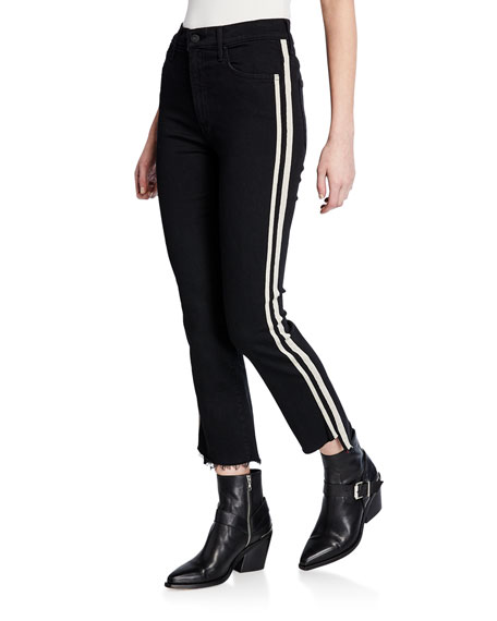 MOTHER Insider Crop Step Fray Striped Jeans