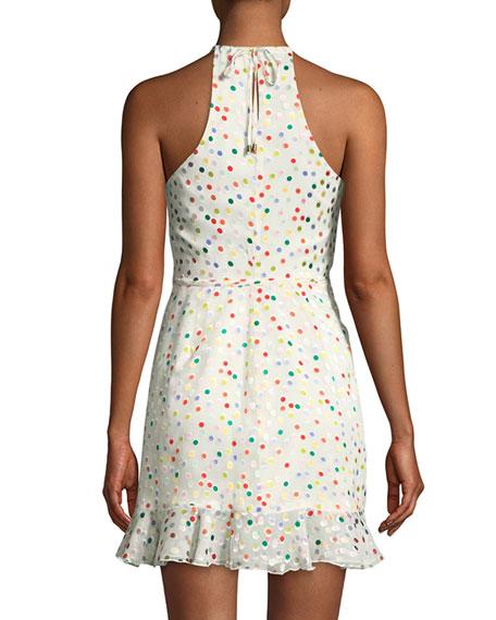 Gigi Halter Dot-Print Ruffle Wrap Dress
