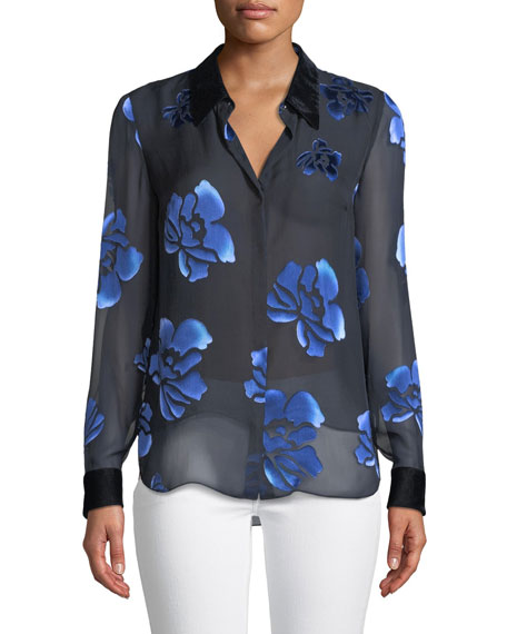 Elie Tahari Martha Floral-Burnout Blouse