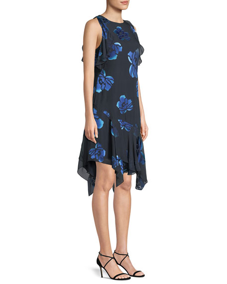 Image 3 of 4: Elie Tahari Serenity Floral-Burnout Ruffled Dress