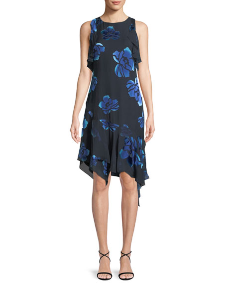 Image 1 of 4: Elie Tahari Serenity Floral-Burnout Ruffled Dress