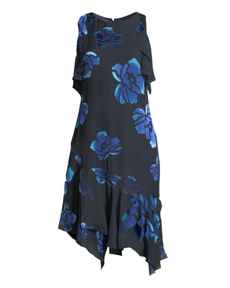 Image 4 of 4: Elie Tahari Serenity Floral-Burnout Ruffled Dress