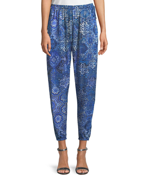 Heather Graphic-Print Pull-On Pants