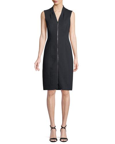 Verdie Zip-Front Sleeveless Dress